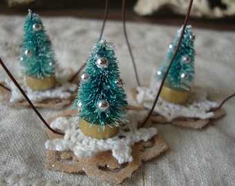 bottle brush tree christmas ornaments vintage style mini trees christmas home decor