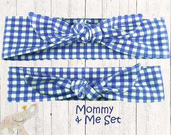 Mommy & Me Set || Top Knot Headband || Knotted Headband - Periwinkle Blue and Whie Gingham Check on Cotton Jersey Knit