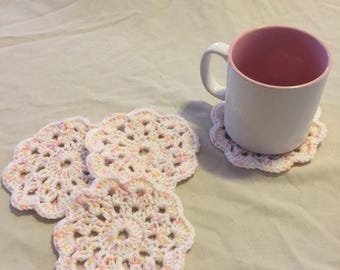 Pretty Pastel Flower Cup Coasters