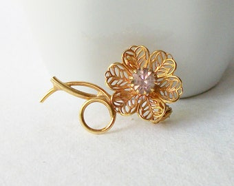 Vintage Rhinestone Flower Brooch, Bridal Bouquet, Something Old, Flower Pin