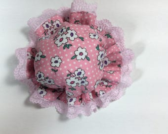 Kawaii Doorknob Cover (white dots and flowers on pink)