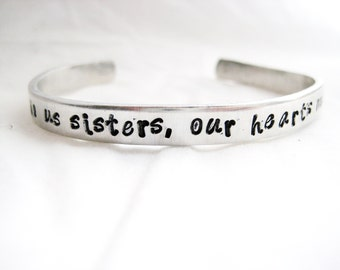 SISTER BRACELET - Hand Stamped Cuff Bracelet, Sister Jewelry, Sister Roots, Sister Friends