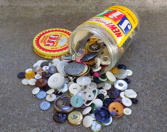 1950s JIF Peanut Butter Jar Full of Mixed-Era Vintage Buttons