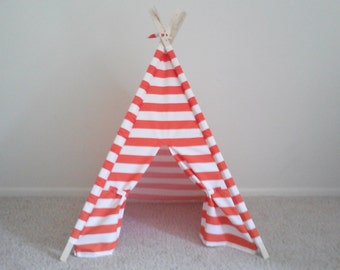 Kids Play Teepee Orange and White Stripe Indoor Outdoor play tent