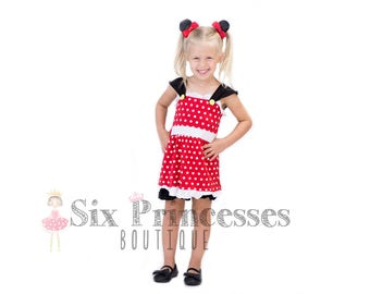 15715ac1d5 Minnie Mouse Shorts Set Outfit Disney Parks Mickey Cruise Birthday Party  Top Shorts Ruffle Princess Dress Sc 1 St Etsy