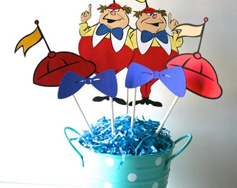Tweedle Dee and Dom centerpiece WITHOUT A CONTAINER, Alice in Wonderland birthday, Tweedle Dee and Dom decorations
