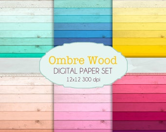 Ombre Wood texture Digital Paper Pack / Instant download / 6 Digital Papers - for Crafts, Scrapbooking, Invitationa