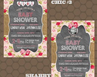 Shabby Chic Baby Girl Shower Invitations Thank You Cards Printable Uprint Digital Printed * READ DESCRIPTION *