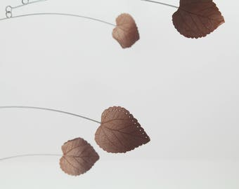 Copper and Brown Leaf Mobile, Modern Mobile, Art Sculpture, Modern Home, Hanging Mobile, Autumn Decor, Calder Style Mobile, Leaf Art