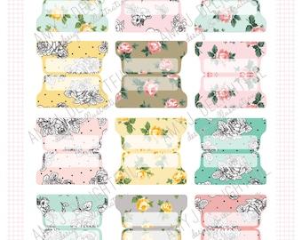LARGE SIZE Printable Blank Floral Planner File Tabs - Digital File Instant Download- floral,roses, black and white, Home Management