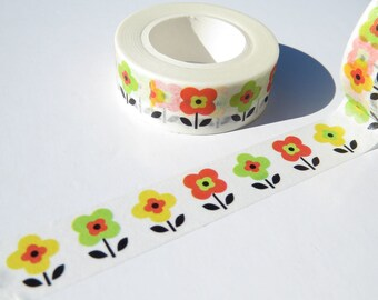 Retro Floral Flowers Washi Tape / Flower Power Gift Wrap