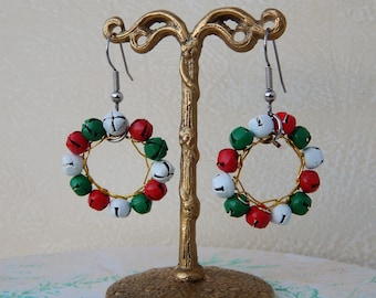 Vintage Jingle Bells Wreath Earrings, Red and Green Christmas Bells Earrings, Christmas Wreath Earrings, Christmas Jewelry Holidays