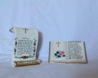The Lords Prayer Psalm 23 Vintage Porcelain Prayers Religious Home Decor ( Ref no. A249 )
