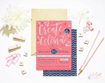 Painting party invitations | Create / wine art party printable invites,  5x7 4x6 custom, paint sip repeat | Adult Birthday invitations