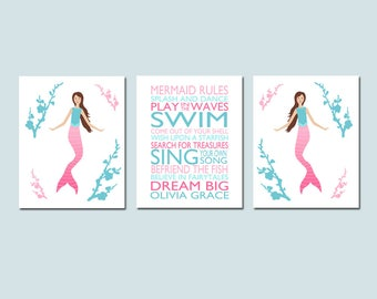 MERMAID Decor Mermaid Room Decor Mermaid Art MERMAID RULES Nursery Decor Mermaid Nursery Art Mermaid Set of 3 Prints - Choose Your Colors
