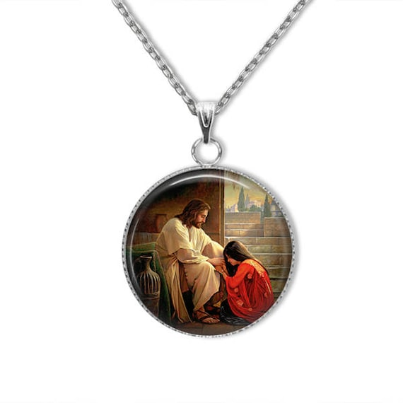 Mary Magdalene Pendant, Stainless Steel Catholic Jewelry, Catholic Saint Necklace, Saint Mary Magdalene Necklace