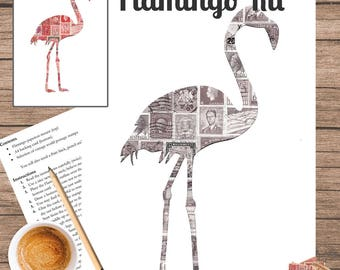 Flamingo Postage Stamp Art Kit