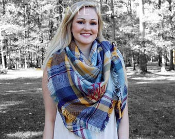 Blanket Scarf-Scarves-Monogrammed Scarf-Monogram Scarf-Gold-Mustard-Plaid Scarf-Tartan Scarf-Large Scarf-Over Sized-Personalized Scarf-Gift