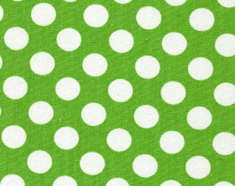 White Dots on Green Fabric, Lime Green Polka Dots, Fabric Finders, 100% Cotton,