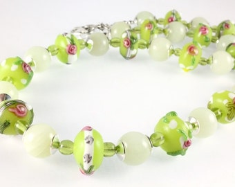 Floral Lampwork Bead Necklace, Green, Pink, White, New Jade, Spring Necklace, Summer Necklace