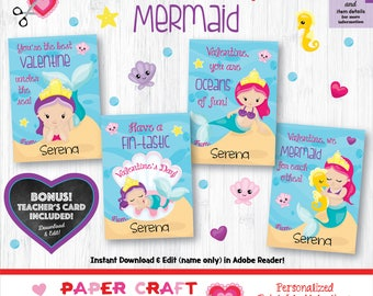 Mermaid Valentine Cards | Printable Classroom Valentines | Classroom Exchange Cards | By Paper Craft Valentines