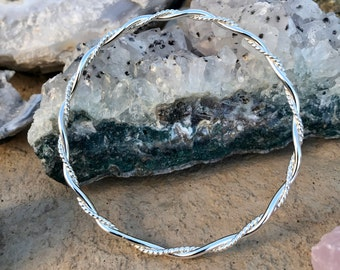 Sterling Silver Solid Bangle - 12 Gauge Round Wire and 14 Gauge Round Twist Wire  - Custom Sizes and Options, Collectible and Stackable
