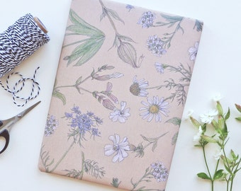 Set Wrapping paper Meadow flowers July // 4 sheets different coloured flowers