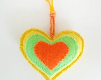 Felt bag charm, Yellow Heart, Felt heart, Handmade gifts,Ready to ship, felt charm, school bag charm, toy,love heart,mini plush