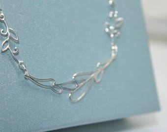 Sterling Silver Necklace, Abstract Necklace, Floral Necklace, Petal Necklace