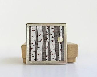 Birch trees at night brooch, silk ribbon embroidery, embroidered jewelry, embroidered birch trees, forest with moon brooch, woodland pin