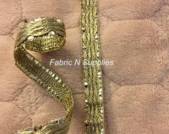 Border Ribbon Trim Gold Decorative Shiny Over One Yard