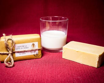 Goat's milk soap, natural, produced and hand-packaged.