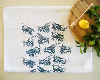 Blue banded bee cotton tea towel