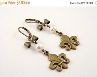 20%OFF SALE SALE-Pearl Earrings,  Fleur de Lis Jewelry, Was 16 Now 5