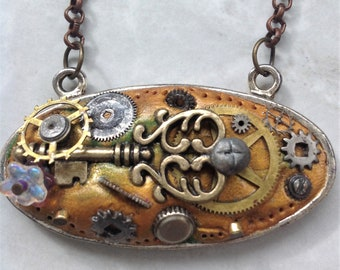 Steampunk Mixed Media Pendant Chain Necklace