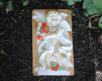 Angel Cherub Concrete Plaque Handmade Hanging Garden Yard Wall Art Decor