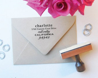 Casual Chic Address Stamp - Custom Stamps - Return Address - Wooden Handle Stamp - Pretty Chic
