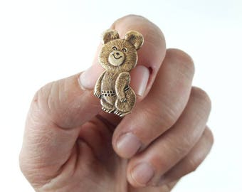 Vintage Soviet Pin Brooch Misha Mascot Pin Brooch in Gold 1980
