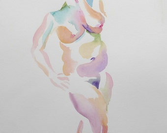 Original watercolor life drawing, 25% OFF SALE! figure, female, nude, figure, standing, frontal, painting, wall art, home decor, unframed