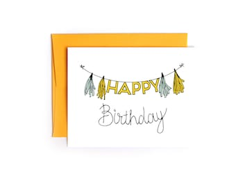 Happy Birthday Banner and Tissue Fringe Card - Birthday Card
