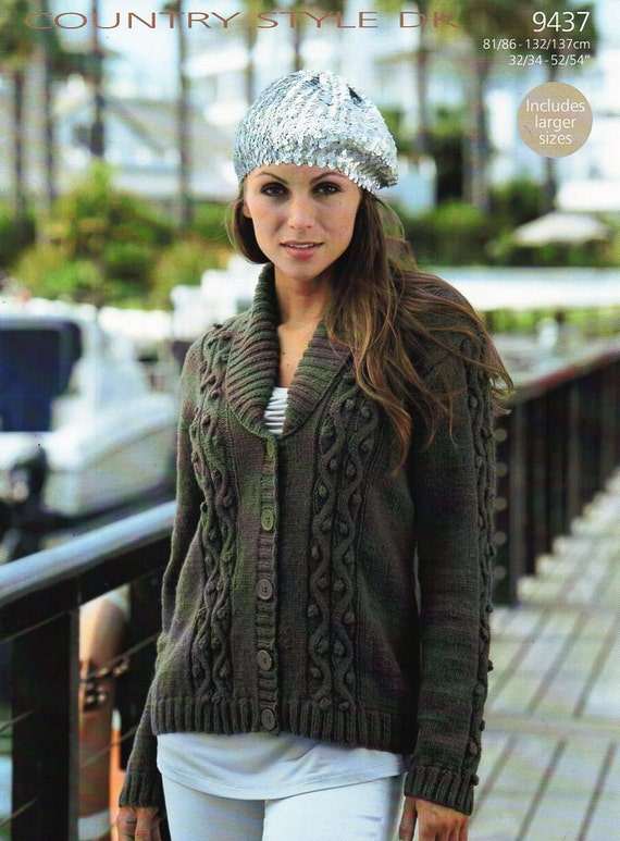 Womens Cardigan Knitting Pattern Pdf Ladies Shawl Collar Roll Neck