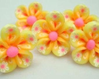 5 Piece Handmade Yellow, Pink Clay Flower Bead Cabochons - Kawaii Decoden Flatback (TDK-C1547)