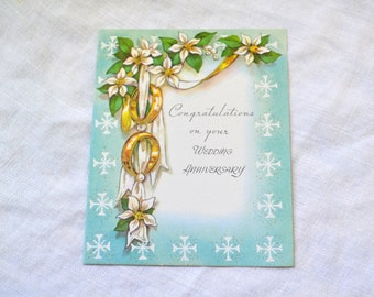 1950s NOS Wedding Anniversary Card with Envelope
