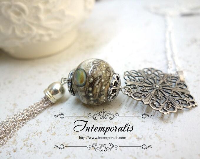 Long Chain tassel Murano Glass Necklace, Handmade lampwork Murano bead glass, OOAK, SASA03