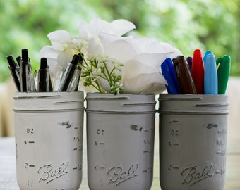 Grey, Greige, White Half-Pint Painted & Distressed Mason Jars