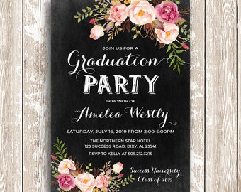 Graduation invitation Blue and White stripes
