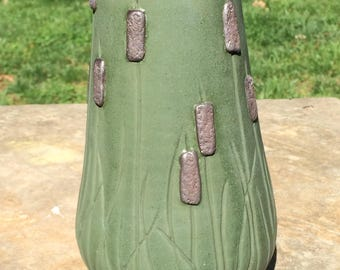 Matte Green Cattail Field Vase