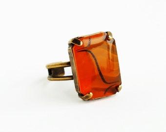 Orange Glass Ring Vintage Art Deco Glass Ring Large Chunky Orange Statement Ring Jewelry Adjustable Ring