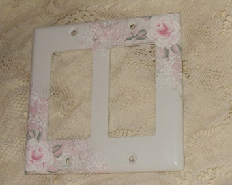 Shabby Cottage Chic  Hand Painted Pale Rose Double Rocker Light  Switch Cover