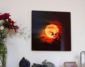 Fire Moon, Metal Panel Moon Photograph on aluminum, Fiery orange gold Full Moon in black sky, aluminium high gloss, orange & black wall art,